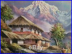 Original Oil Painting Of Mt. Everest On Cotton Canvas From Nepal Size 54x29 CM