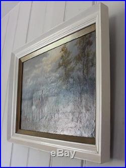 Original Oil Painting On Canvas Signed C W Oswald Equestrian Landscape Framed