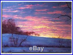 Original Oil Painting Sunrise Winter Snow Sunset 20x16 Landscape Art Canvas
