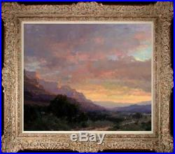 Original Oil Painting art Impressionism mountain peak Landscape on canvas20x24