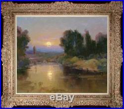 Original Oil Painting art Impressionism sunrise Landscape on canvas 20x24
