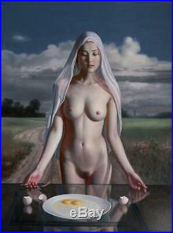 Original Oil Painting female art chinese nude girl on canvas 30x40