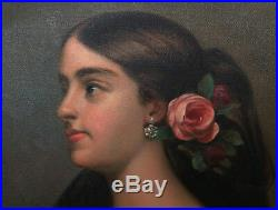 Original Oil Painting on Canvas Gypsy Woman Rose Young Pretty Signed Hopeman