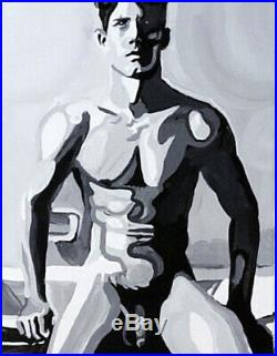 Original Oil Painting on Canvas Nude Abstract Impasto Male Figure Expressionism