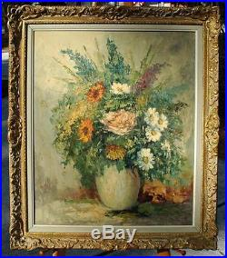 Original Oil on Canvas Beautiful Floral of Roses & Daisies in Vase by F. Szekely