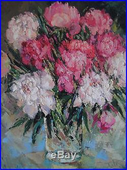 Original Oil on Canvas Painting Flowers Peonies 24 x 18 inch