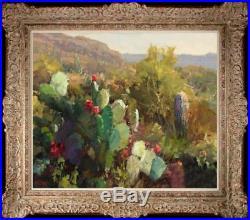 Original Oil painting art Impressionism Landscape Cactus on canvas 20x24