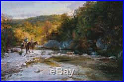Original Oil painting art landscape Cowboy on canvas 24x36