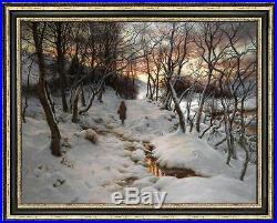 Original Oil painting art landscape Snow Winter on canvas 30x40