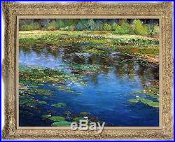 Original Oil painting landscape art Water lily on canvas 30x40