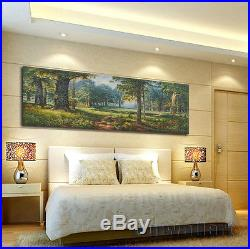 Original Oil painting on Canvas Lanscape Green Forest Art for Living Room Decor