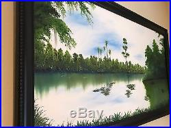 Original Old Florida painting of Black Creek day time. Oil on Canvas 44 x 48