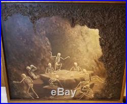 Original One Of Kind Oil Painting Canvas Skeleton Cave Drinks J Espinosa 3D Art