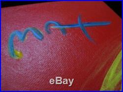 Original Peter Max Umbrella Man Acrylic on Canvas with COA