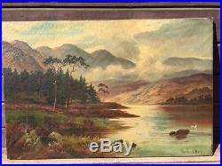 Original ROWLAND WARD Oil on Canvas Landscape Painting Signed 1880's