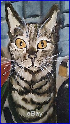Original Realism Oil Painting On Artist Canvas Panel Of The Cat