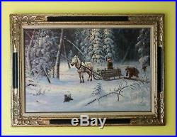 Original Russian Winter Landscape, Rural Scene, Oil Painting On Canvas, Signed