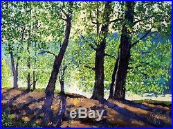Original Russian oil on canvas USSR Socialist realism Painting Landscape 2016