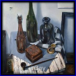 Original Russian oil on canvas USSR Socialist realism Painting still life 2017