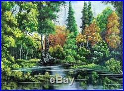 Original Signed Forest Oil Painting Art Decor 18x24 Canvas Bob Ross Technique
