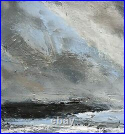 Original Signed Impressionist Abstract Rocks Stormy Sea Oil Painting On Canvas