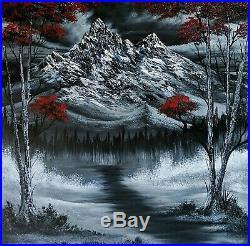 Original Signed Landscape Oil Painting Art Decor 24x24 Canvas Bob Ross Technique
