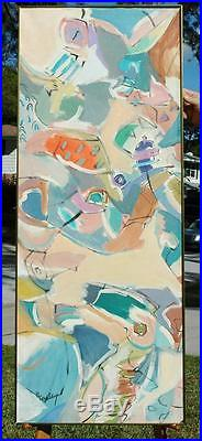 Original Signed Mid Century Abstract Oil on Canvas Signed (Fran) Beasley