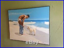 Original Signed Steve Walker 48x36 Acrylic on Canvas A Dogs Life Gay Interest