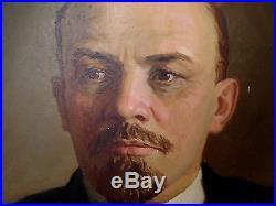 Original Soviet Russian Big Oil painting on canvas portrait of V. Lenin 70s