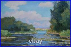 Original Sunny Day on River Ukraine Landscape Oil Painting Impressionism ART