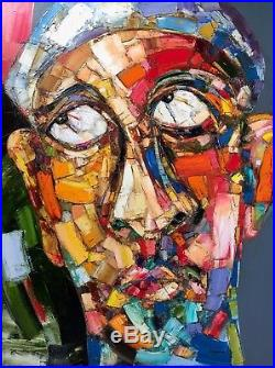 Original abstract painting Portrait of a man oil on canvas 36x48 in signed