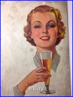 Original advertising illustration art 1940's oil on canvas board BEER AD 24x14