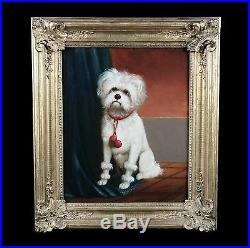Original antique oil painting on canvas, portrait of a maltezer dog 19th frame