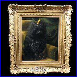 Original antique oil painting on canvas portrait of dog poodle 19th