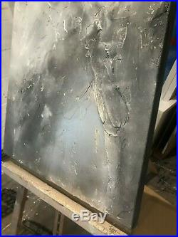 Original art textured canvas art by Kerry Bowler. Grey & Champagne metallic art