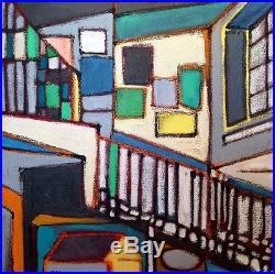 Original oil painting on canvas 24x24 abstract interior landscape still life