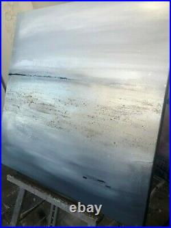 Original statement textured abstract seascape canvas art Black and gold