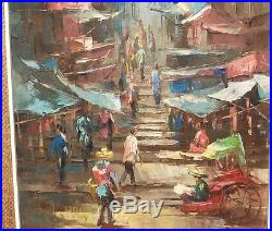 P. Nhan Thailand Market Street Scene Old Original Oil On Canvas Painting