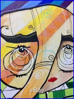 PAINTING ORIGINAL ACRYLIC ON CANVAS (FRAME INCLUDED) CUBAN ART 16X20 by LISA
