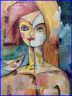PAINTING ORIGINAL OIL ON CANVAS (FRAME INCLUDED) CUBAN ART 24X36 by Lisa