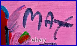 PETER MAX Original PAINTING on CANVAS Signed FLOWER LADY Nude Acrylic HUGE 36x48