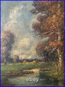 Pair Beautiful Landscape, Oil Canvas Paintings 1898, Listed Frederick Leo Hunter