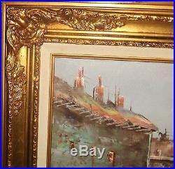 Paris Market Street Scene Huge Original Oil On Canvas Painting Signed