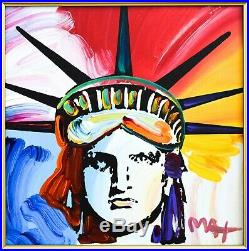 Peter Max Original Acrylic on Canvas Liberty Head COA from Park West