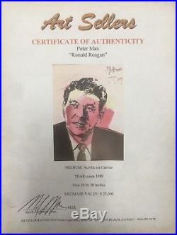 Peter Max Ronald Reagan Original Painting Acrylic on canvas