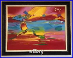 Peter Max Stormy Sail Original Acrylic On Canvas 36 x 48 Custom Frame