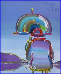 Peter Max Umbrella Man 1989 Original Acrylic/canvas 33x27 Make An Offer