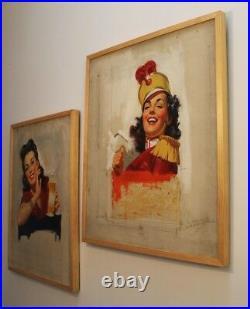 Pin up, advertising, illustration art original oil painting 1940's 1950's