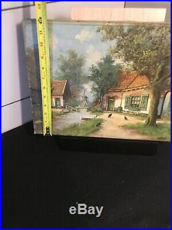 Puschaik Antique Original Oil On Canvas Dutch Landscape Painting 16x12 /Listed