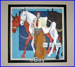 REDUCED 40%! LARGE ORIGINAL PAINTING of HORSES & COWGIRL by DONNA HOWELL-SICKLES